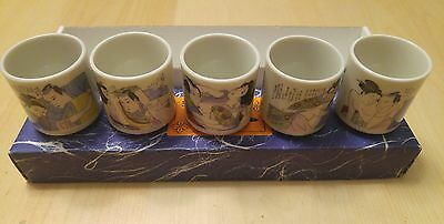 Erotic hand painted sake set of 5 cups.