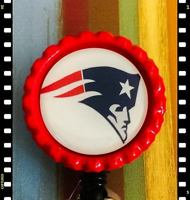 Retractable New England Patriots ID Name Reel Badge Holder Pull Lanyard Nurse RN