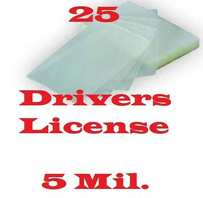 25, 5 Mil Drivers License Laminating Laminator Pouch Sheets 2-3/8 x 3-5/8