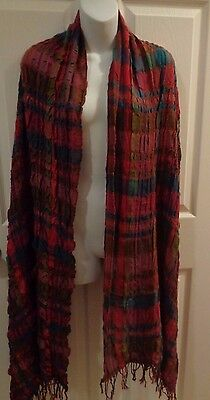 Women Long Big Crinkled Soft Scarf Wrap Shawl Stole Red, Green, Brown & Blue