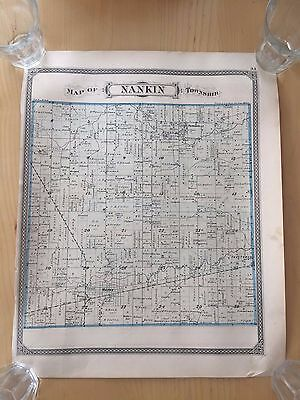 1876 Antique Map of Nankin Michigan ORIGINAL Rare LIVONIA