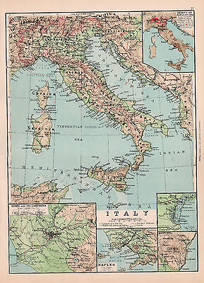 Map Of Central Italy Original Large Color Antique Map 1894