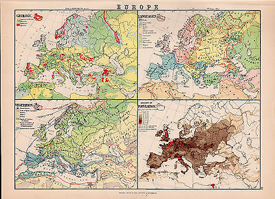 Map Of Europe Geology Languages Original Large Color Antique Map 1894