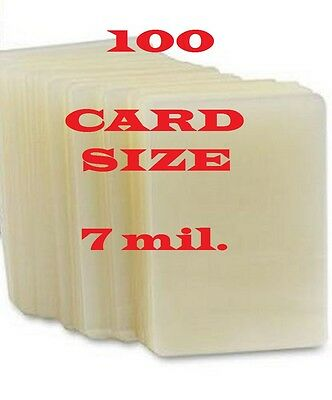 100 Card Size Laminating Pouches Sheets 2-1/4 x 3-3/4   7 Mil