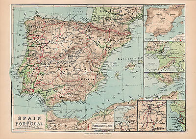 Map Of Spain and Portugal Original Large Color Antique Map 1894
