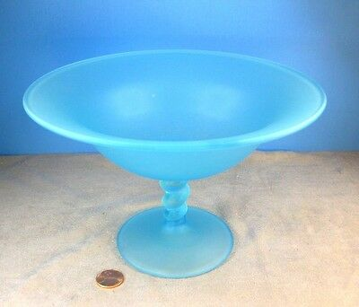 Vintage TIFFIN Turquoise Blue Satin Glass Footed Compote Dish or Candy FLAWLESS!