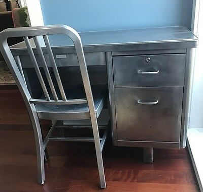 Vintage Haskell Tanker Desk and GoodForm Navy Chair 1950s