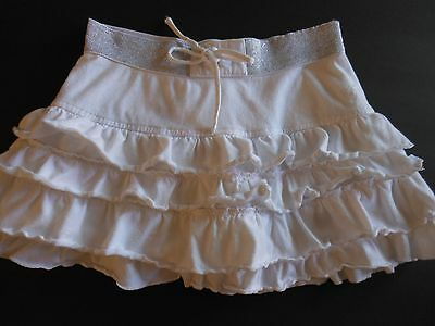 Justice girl 8 skort,white tier ruffle /panties under,silver elastic band waist