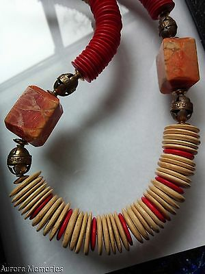 Vintage Large Natural Apple Coral Wood Button Bead Ethnic Tribal Necklace