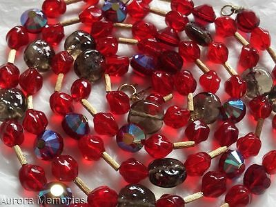 "Vintage Designer Alfred Philippe Crown Trifari 48""LONG Red Molded Glass Necklace"