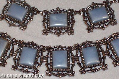 Ornate Vintage Chunky Silvertone Pearl Blue Thermoset Plastic Necklace Bracelet