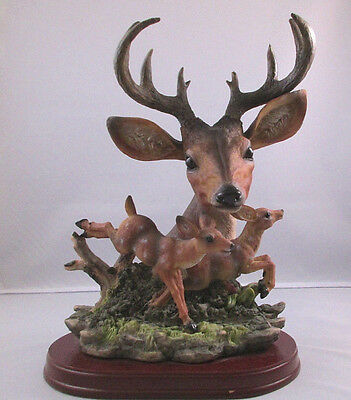 """Ten Point Buck Bust With Two Fawns - Deer Figurine On Wood Base - 10 5/8"""" Tall"""