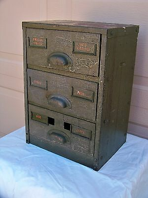 Vintage Parts Cabinet Southwestern Bell Telephone Company Metal 3 Drawer Bell Co