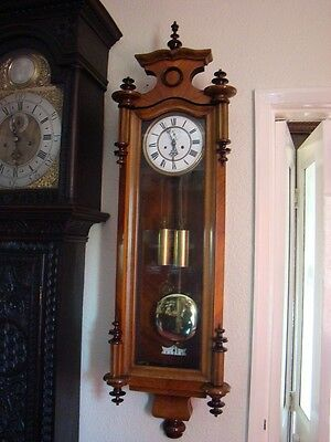"slim cased double weight vienna wall clock in working order 48"" length schutz Co"