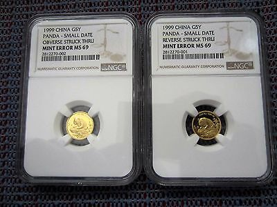1999 China Small Date Panda 5 Yuan 1/20 oz Gold Mint Error NGC MS69 (2 Pcs)