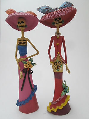 """SET OF 2 CATRINAS  day of the dead mexican hand made folk art clay sculpture 16"""""""