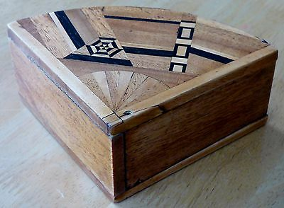 Unusual Vintage Treen Inlaid Trinket Box with Swing Open Drawer