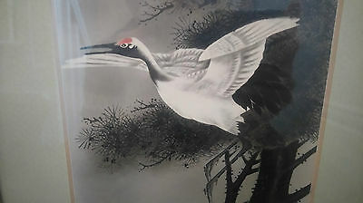 Antique 19th Century Chinese /Japanese   Watercolour of a heron on paper