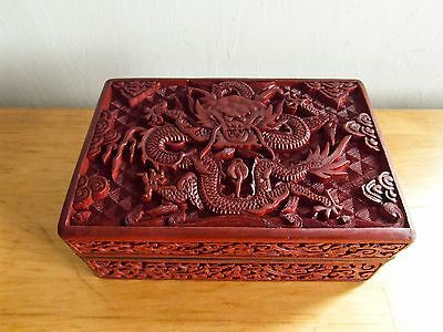 Antique Late Qing-Chinese Carved Cinnabar Red Lacquered Trincket Box