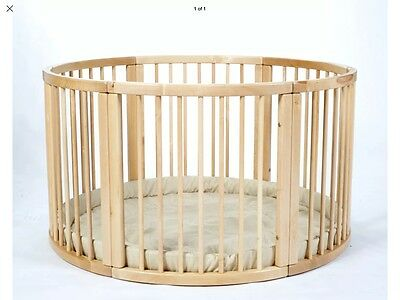 LARGE Wooden Playpen with Playmat from