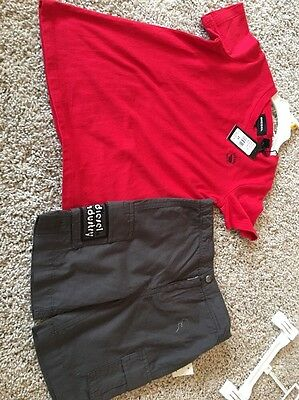 Diesel Toddler Boy Red T shirt and Gray shorts set outfit size 3T