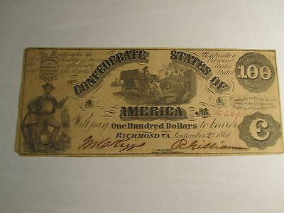 1861 $100 US Confederate States of America Old US Paper Money Currency!