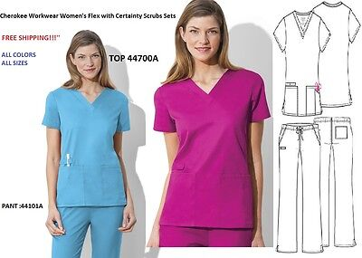 64168c8a4ff Cherokee Workwear Women's Flex with Certainty Scrubs Sets Top:44700A/Pant: 44101A