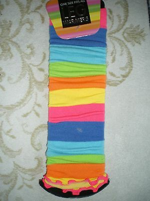 Leg Warmers Neon stripe Fancy Dress Ladies Girls 80s Disco Womens Legwarmers New