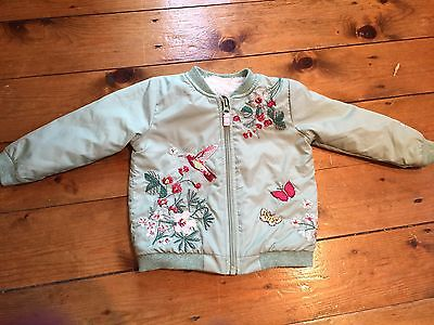This Seasons Baby Girls Green Embroidered Bomber Jacket  9-12 Months Next