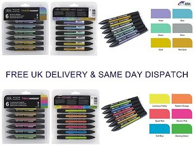 Winsor & Newton Letraset ProMarkers METALLIC/NEON SETS Twin tip water-based ink