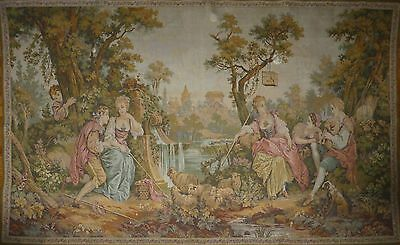 """Huge Antique / vintage French Wall Hanging Tapestry  89"""" x 56"""" Pastoral scene"""