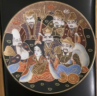 Japanese hand decorated plate featuring Seven Lucky Gods