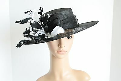 Medium NEW Church Derby Wedding Easter Sinamay Black/White Dress hat CM65