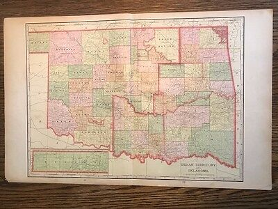 Original 1906 Antique Map of Indian Territory & Oklahoma. Verso Arizona, Nevada.