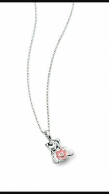D for Diamond Girls Silver Pink Teddy Necklace New and Boxed