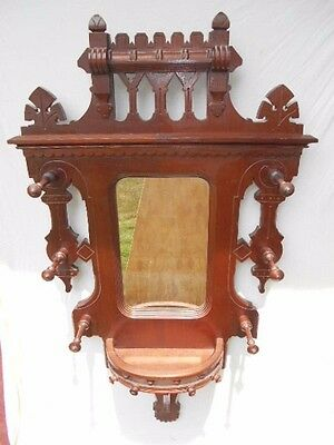 Unusual Antique Victorian Walnut Wall Mirrored Hanging Hat Shelf w/Gallery