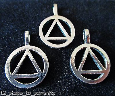 3 Aa  Pendants Charm Alcoholics Anonymous Jewelry Nickel Silver