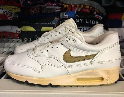 Vintage Nike Air Max 1 / 90 Leather White Gold 8.5 Ds Cracked Unwearable 1993