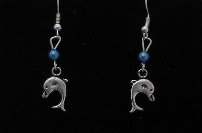 Dolphin Dangling Earrings (D4) - You pick the Bead Color..