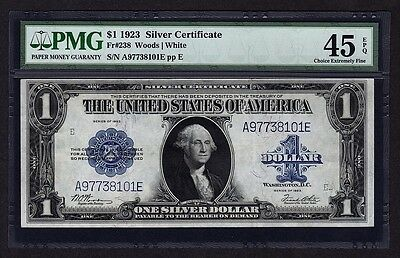 1923 $1 Silver Certificate PMG 45 EPQ Blue Seal One Dollar Bank Note Fr#238