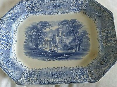 antique Staffordshire Ironstone blue Transferware Plate. Geneva J. Heath
