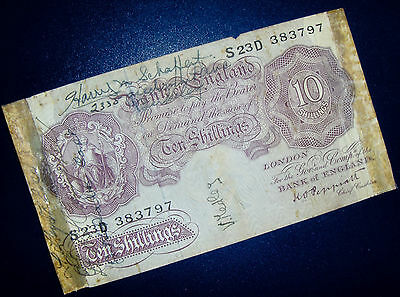 WW2 Short Snorter on 1940 Bank of England 10 Shilling Note - UK / Great Britain