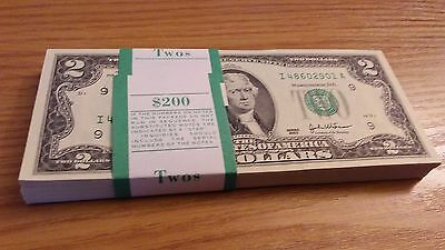 New Crisp, Uncirculated Two Dollar Bill, Mint $2.00 Note Sequential Order