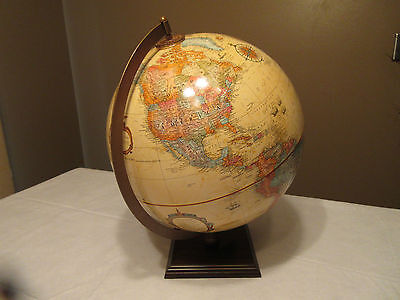 "Vtg Replogle WORLD CLASSIC - Raised Relief- Wood Base-12 "" Diameter- Near Mint"