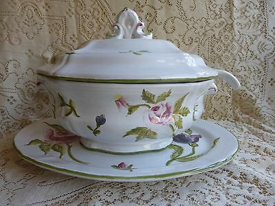 Vintage Cantagalli Soup Tureen with Underplate and Ladle Floral Firenze