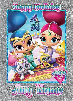 * Shimmer And Shine * Any Name Age Relation Personalised Birthday Greeting Card