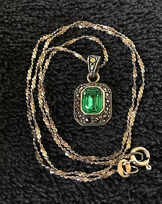 """Sterling Silver ~5 grams Marcasite Green """"Emerald"""" Twisted Chain Necklace 18"""""""