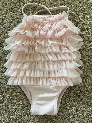 Girls Baby Gap Light Pink Tutu Tulle Swimsuit One Piece Size 6-12 Months