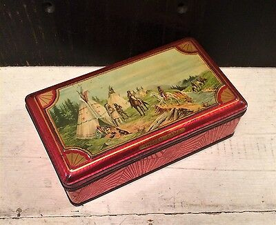 Vintage Antique Art Deco Tin Box Native American Indian Camp Teepee Red c 1920s