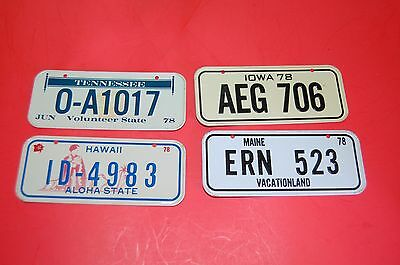 NEW Vintage 1978 Mini Bicycle Bike metal license plate lot of 4 Rare Plates